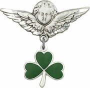 Sterling Silver Baby Badge Guardian Angel Pin With Shamrock Charm, 1 1/4 Inch