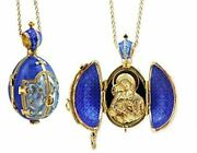 Religious Gifts Blue Icon Egg Pendant Madonna And Child Silver Gold Tone 1 1/2 I
