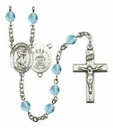 March Birth Month Prayer Bead Rosary With Saint Christopher Air Force Centerpiec
