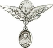 Sterling Silver Baby Badge Guardian Angel Pin With Sacred Heart Scapular Charm,