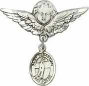 Sterling Silver Baby Badge Guardian Angel Pin With Saint Sebastian Volleyball Ch