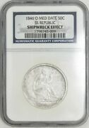 1846-o Seated Liberty Half 50c Med Dt Ss Republic Ngc 941302-1