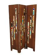 Mid Century Modern Infused Colorful Glass And Wooden Wall Divider/screen Panel