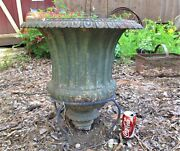 Antique Victorian Usa Home Huge Cast Iron Garden Urn W/ Metal Plant Stand Base
