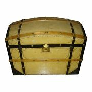 19th Century Painted Barrel Dome Top Blanket Trunk | Chest