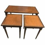 19th C. French Leather Top Cocktail | Coffee Table +2 Nested Side Table-set Of 3