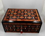 Big Wooden Jewelry Box Made Of Thuya Wood Inlaid With Mother-of-pearl,lock Box