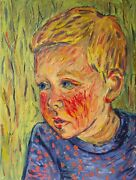 After Van Gogh Oil Painting Child Playing In The Field Signed And Dated