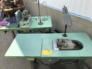Industrial Hemming, Overlock, And Buttonhole Sewing Machines With Tables Used