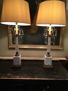 Large Elegant Pair Mid Century 1950s Marble And Glass And Ormolu Table Lamps