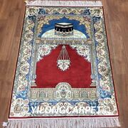 Yilong 2.8and039x4and039 Traditional Handmade Prayer Silk Rugs Hand Knotted Carpets L64b
