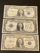 Star Lot Of 3 1 Dollar Blue Seal Usa Silver Certificates Paper Money