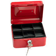 High Quality Steel Tiered Money Box Lock Locking Bank Safe Key Security Tray Red