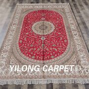 Yilong 6'x9' Red Hand Knotted Area Rugs Large Handmade Silk Carpet Online Y330c