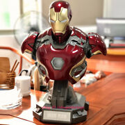 Iron Man Mk45 Bust Statue Led Lighting Resin 1/2 Model Collectible Gk Red Color
