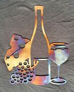 Wine And Cheese Metal Art- Cnc Plasma Cut 14x11 Inches