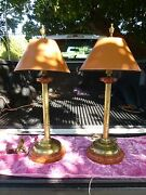 Pair Of 70and039s Bamboo Brass Lamps W Reverse Tortoise Shell Shades A La Palm Beach