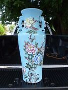Monumental Republic Period Chinese Robinand039s Egg Blue Vase W Floral And Bird Decor