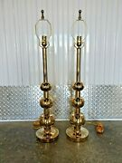 Mid Century Modern Tommi Parzinger Brass Stacked Three Ball Lamps- A Pair