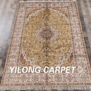 Yilong 6'x9' Yellow Hand Knotted Area Rugs Large Handmade Silk Carpet Y456c