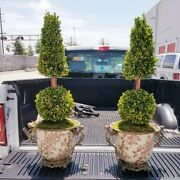 2 Vintage Figural Bronze And Porcelain Topiary Planters