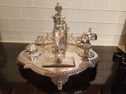 Unusual Turn Of The Century Wmf Silver Plate Scales Of Justice Inkwell Desk Set