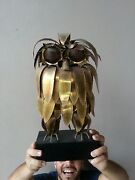 Large Mid Century Modern Curtis Jere Cut Brass Owl On Black Wood Stand