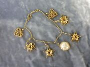 18k Gold Italian Stars And Hearts Charm Bracelet With Large Pearl .45 Troy Ounce