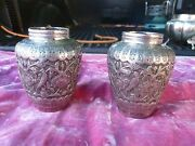 Very Fine Pair Of Antique Islamic Silver Vases Hallmarked 10.1 Troy Ounces