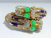 Early Kenneth Jay Lane Dragon Bracelet With Faux Turquoise And Emeralds