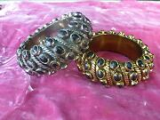 2 Stunning Vintage Chunky Luisa Conti Gold And Silver Bracelets W Black Stones