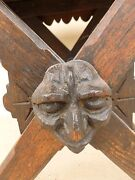 Very Cool 19th C Gothic Wood Stool Or Small Table With Grotesque Face