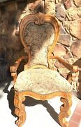 Solid Wood Antique Dining Room Furniture Set 6 Chairs Table For Six.