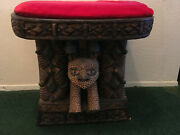 One Piece Cameroon Africa Wooden Cheetah Chieftain Stool 21x18x16 - With Pillow