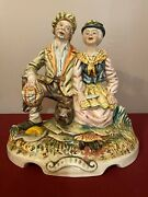 Vintage Capodimonte Porcelain Figurine Hobo Couple Cooking Fish Outside Signed