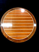 31 Round Teak And Holly Yacht/boat/rv Table High Gloss Finish