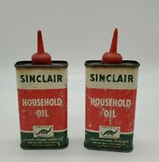 2 Vintage Sinclair Handy Household Oil Tin Advertising Green Cans