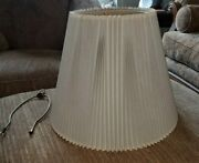 Vintage Pleated Empire Linen Stiffel Lamp Shade 12.5 With Finial Hardware