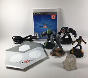 Ps3 Disney Infinity Portal, Game, Crystal And Lot Of 4 Marvel Characters