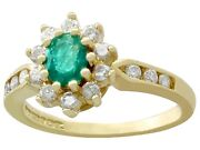 Vintage Emerald And Diamond 18k Yellow Gold Cluster Ring - Size 4