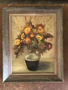 Vintage Oil Painting Still Like Yellow Orange Red Oak Washed Frame 20andrdquo X 16andrdquo