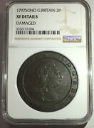 1797 Soho Great Britain 2 Penny Coin Certified Xf Details