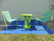 2 Mod Psychedelic Samsonite Wrought Iron Patio Chairs W Seahorse Table