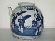 Rare Antique Chinese Large Hand Made Blue And White Porcelain Teapot And Lid