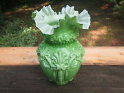 Antique Vintage Heavy Frilly Green Glass Lamp Shade 11 5/8 Ceiling Fixture
