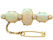 Antique Victorian 8.74 Ct Opal And 0.96 Ct Diamond 18carat Yellow Gold Brooch 1890