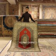 Yilong 4and039x6and039 Red Handwoven Area Rug Medallion Hand Knotted Silk Carpets L130a