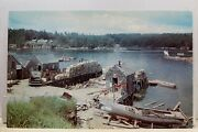 Maine Me Fishing Village Lobster Traps Fishing Gear Postcard Old Vintage Card Pc