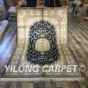 Yilong 5and039x8and039 Blue Handmade Silk Area Rug Hand Knotted Vintage Carpet Store W201c