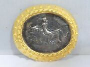 24k Gold Over Bronze Neoclassical Jaded Jewelry Oval Coin Pin 4